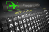 Black departures board for england — Stock Photo