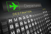 Black departures board for german cities — Stock Photo