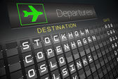 Black departures board for nordic cities — Stock Photo
