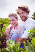Couple embracing among bushes — Stock Photo