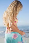 Blonde in bikini and sarong — Stock Photo