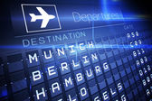 Blue departures board for german cities — Stock Photo