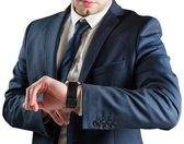 Businessman checking time — Stok fotoğraf