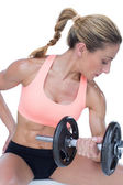 Woman doing bicep curl with dumbbell — Foto Stock