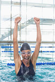 Swimmer jumping up swimming pool — Foto Stock