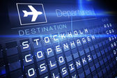 Blue departures board for nordic cities — Stock Photo