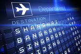 Blue departures board for asian cities — Stock Photo