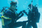 Man proposing marriage to girlfriend underwater — 图库照片