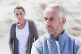 Couple not talking after argument on the beach — Stock Photo