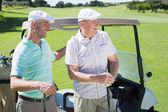 Golfing friends standing beside buggy — Stock Photo