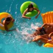 Friends having fun and splashing in pool together — Stock Video #48879761