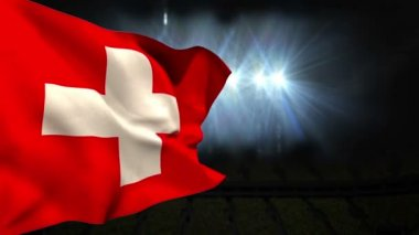 Large swiss national flag waving — Stok video