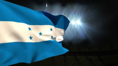 Large honduras national flag waving — ストックビデオ