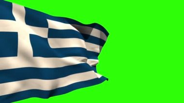 Large greece national flag blowing — Stock Video