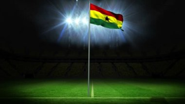 Ghana national flag waving on flagpole — Stock Video