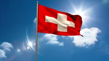 Switzerland national flag waving on flagpole — Vídeo Stock