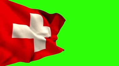 Large swiss national flag blowing — Stock Video