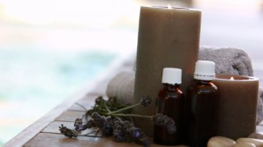 Beauty treatments presented with dried lavender and candles — 图库视频影像