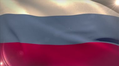Large russia national flag waving — Stock Video