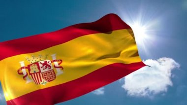 Spain national flag blowing — Stock Video