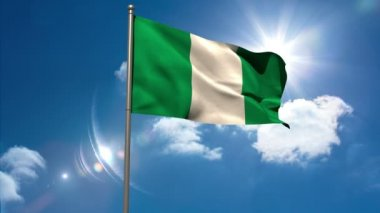 Nigeria national flag waving on flagpole — Stock Video