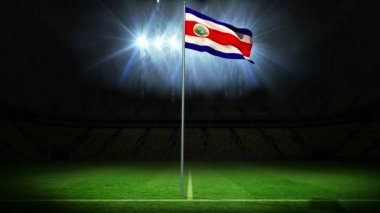Costa rica national flag waving on flagpole — Stock Video