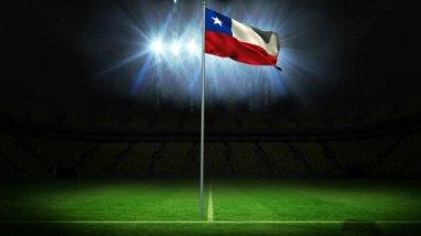 Chile national flag waving on flagpole — Stock Video