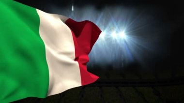 Large italy national flag waving — Stock Video