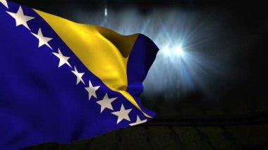 Large bosnia national flag waving — ストックビデオ