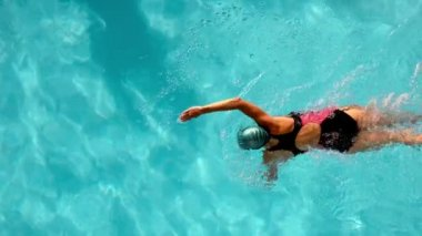Fit female swimmer doing the front stroke in the swimming pool — Stock Video