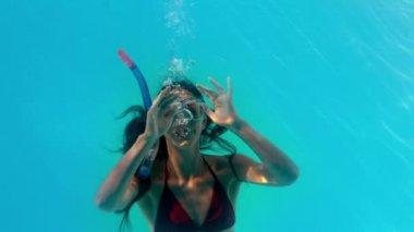 Brunette swimming underwater — Stock Video