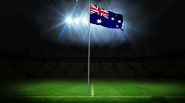 Australia national flag waving on flagpole — Stock Video