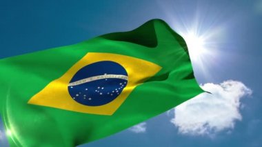 Brazil national flag blowing — Stock Video