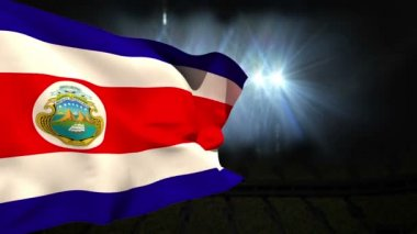 Large costa rica national flag waving — Video Stock