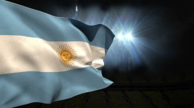 Large argentina national flag waving — Stock Video