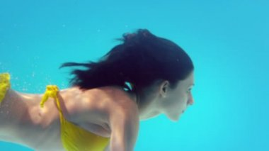 Gorgeous brunette swimming underwater — Vídeo de stock