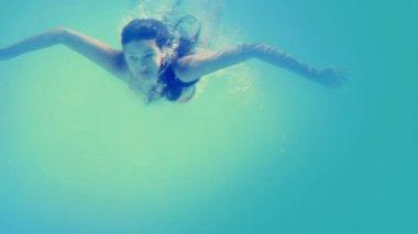 Brunette in bikini diving into swimming pool — Stock Video