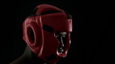 Tough boxer wearing helmet — Stock Video
