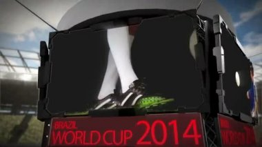 World cup 2014 animation in stadium — Stok video