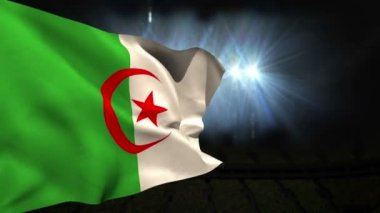 Large algeria national flag waving — Vidéo