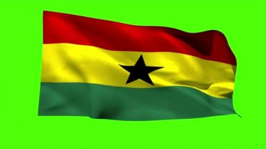 Ghana national flag blowing — Stock Video