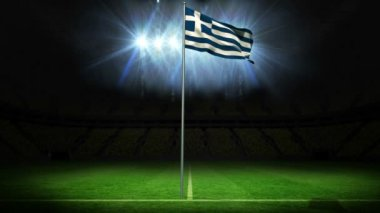 Greece national flag waving on flagpole — Stock Video
