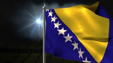 Bosnia national flag waving — Stock Video