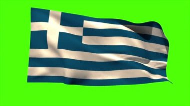 Greece national flag blowing in the breeze — Stock Video