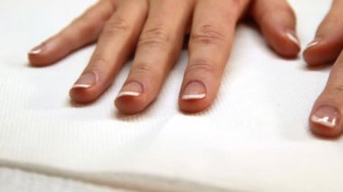 Hands showing fresh french manicure — Stock Video