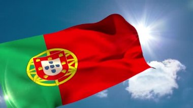 Portugese national flag blowing — Stock Video