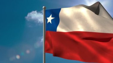 Chile national flag waving on flagpole — Stock Video