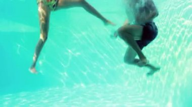 Happy couple jumping in swimming pool — Stock Video