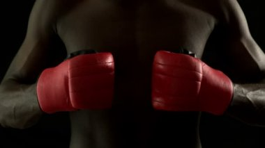 Boxer punching fists together with gloves — Stock Video
