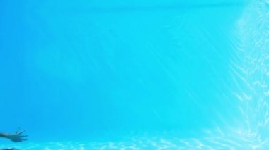 Pretty brunette swimming underwater in pool — Video Stock